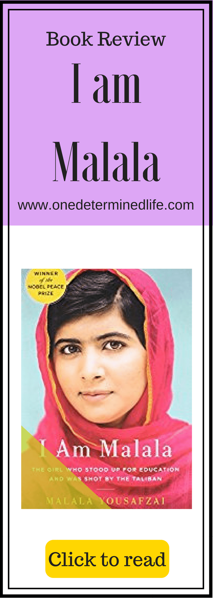 i am malala book review The last book i read was the biography of malala yousafzai titled i am malala in case you haven't heard of her she is a young woman (born 1997) who was awarded the 2014 noble peace prize for her campaigning for education and women's rights to go to school.